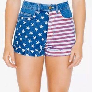 American Apparel American flag high waisted shorts